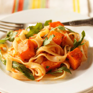 Butternut Squash and Tagliatelle with Red Pepper Sauce, Lemon and Arugula