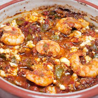 Shrimps in Tomato Sauce and Feta (Garides Saganaki).