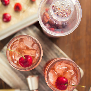 Cherry Bourbon Smash Cocktail.