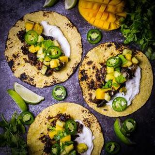 Pork Carnitas with Pineapple Mango Salsa.