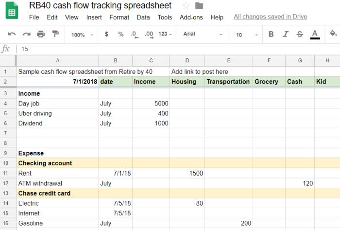Spreadsheet track expense