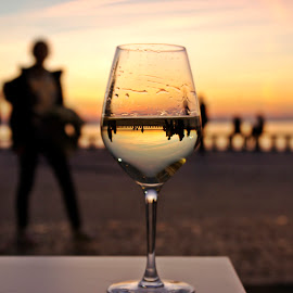 Cheers!  by Ciprian Apetrei - Artistic Objects Glass ( glass, sunset, bokeh, artistic object, brittany )