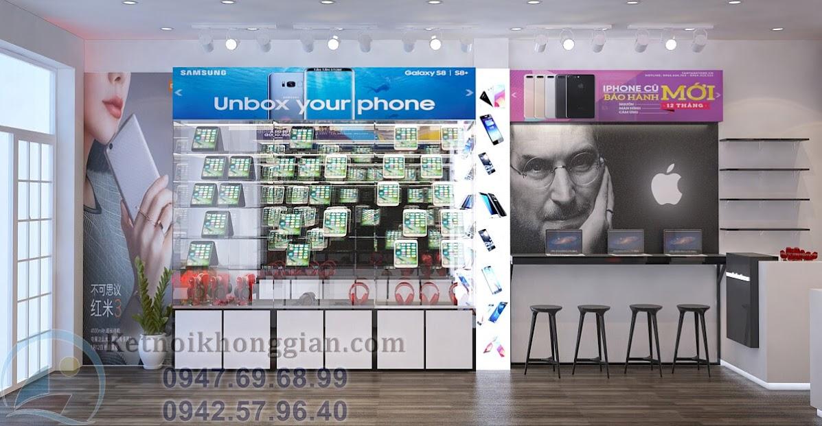 thiết kế shop điện thoại 25m2 tân tân
