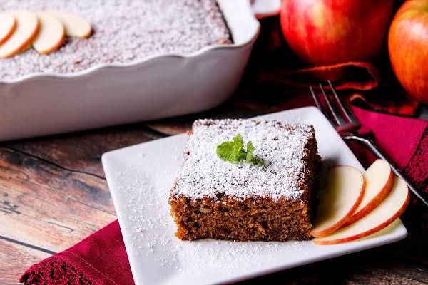 A Slice Of Grandma's Fresh Apple Cake On A Plate.