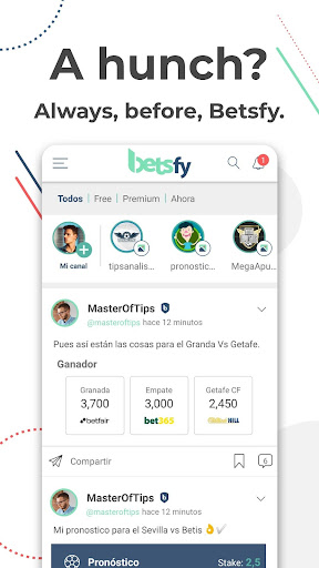 Betsfy - the sports betting social network screenshots 1
