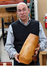 Photo: Mike Colella displays his deep, end-grain vase.