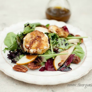 Greens with Warm Breaded Goat Cheese and Fig Balsamic