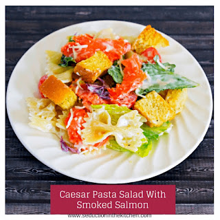 Caesar Pasta Salad With Smoked Salmon.