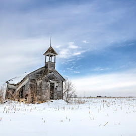 Windswept by Ken Smith - Buildings & Architecture Decaying & Abandoned ( schoolhouse, snow, nebraska )