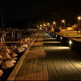 NightLight by Bob White - Buildings & Architecture Bridges & Suspended Structures ( lights, night, beach, docks, boat, dock, boardwalk,  )