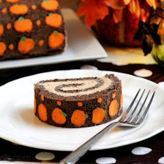 "Chocolate ""Pumpkin"" Swiss Roll Cake Recipe"