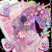 Pink Purple Unicorn Shiny Diamond Flower Theme