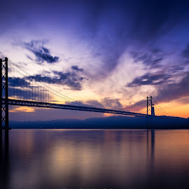 The Bridge by Abílio Neves - Buildings & Architecture Bridges & Suspended Structures ( sky, sunrise, bridge, clouds, water )