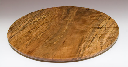 Photo: Phil Brown - curly & spalted red-maple platter, 20""