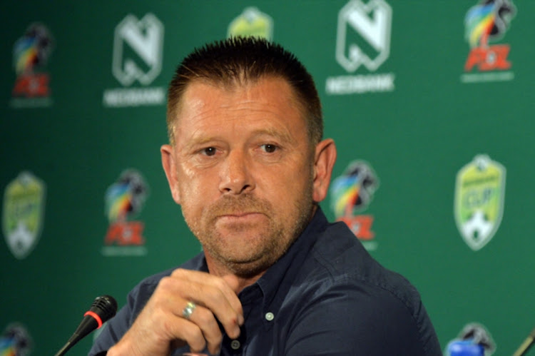 SuperSport United coach Eric Tinkler during the SuperSport United Press Conference at PSL Offices on February 08, 2018 in Johannesburg, South Africa.