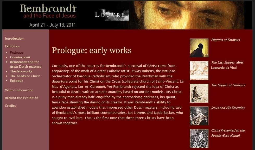 The exhibition page for Rembrandt and the Face of Jesus begins with an introduction, and then proceeds to a prologue about Rembrandt's early works.