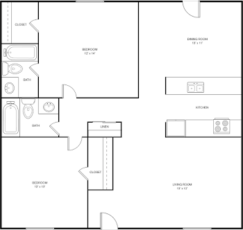 Go to Two Bed, Two Bath D Floorplan page.