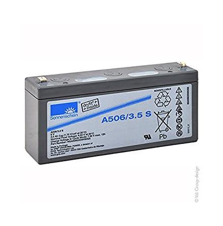 Gelbatteri 6V 3,5Ah Sonnenschein A506/3,5S. LxBxH:135x34,8x6