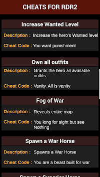 Cheats for Red Dead Redemption 2 APK Latest Version Download - Free