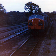 Photo: An engine and guards van arrives on the last goods train at Charlbury (Oct 1970)
