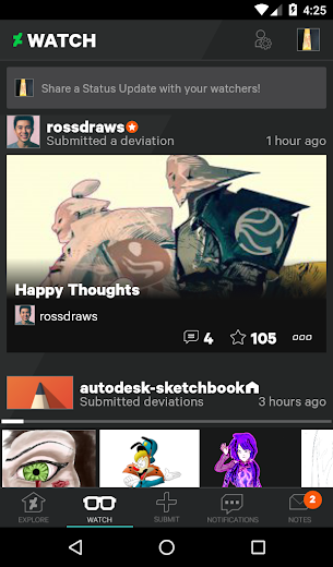 Screenshot 2 for DeviantArt's Android app'