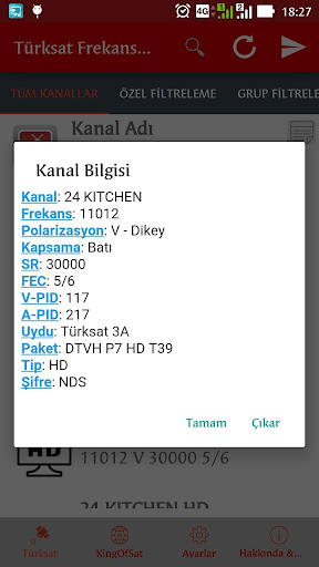 Turksat Frequency List screenshot 17