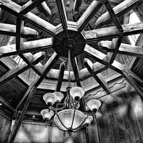 Wooden Ceiling by Deborah Russenberger - Buildings & Architecture Other Interior ( chandelier, ceiling, bw, light,  )