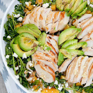 Grilled Tequila Chicken Salad with Avocado, Orange and Pepitas.