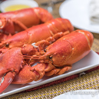 Steamed Lobster with Lemon Butter Sauce.
