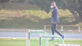 José Gomes en el entrenamiento de este jueves.