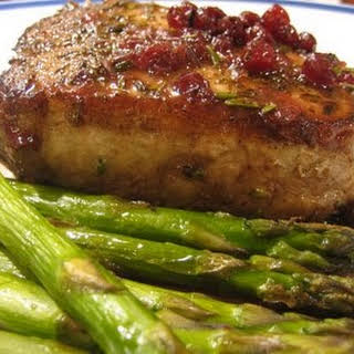Pork Chops with Rosemary, Port & Lingonberry Sauce.