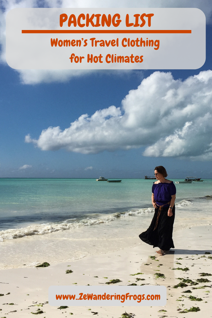 Packing List: Women's Travel Clothing for Hot Climates // Kate Kasin Long Skirt and Shoulder Top walking on Paje beach in Zanzibar