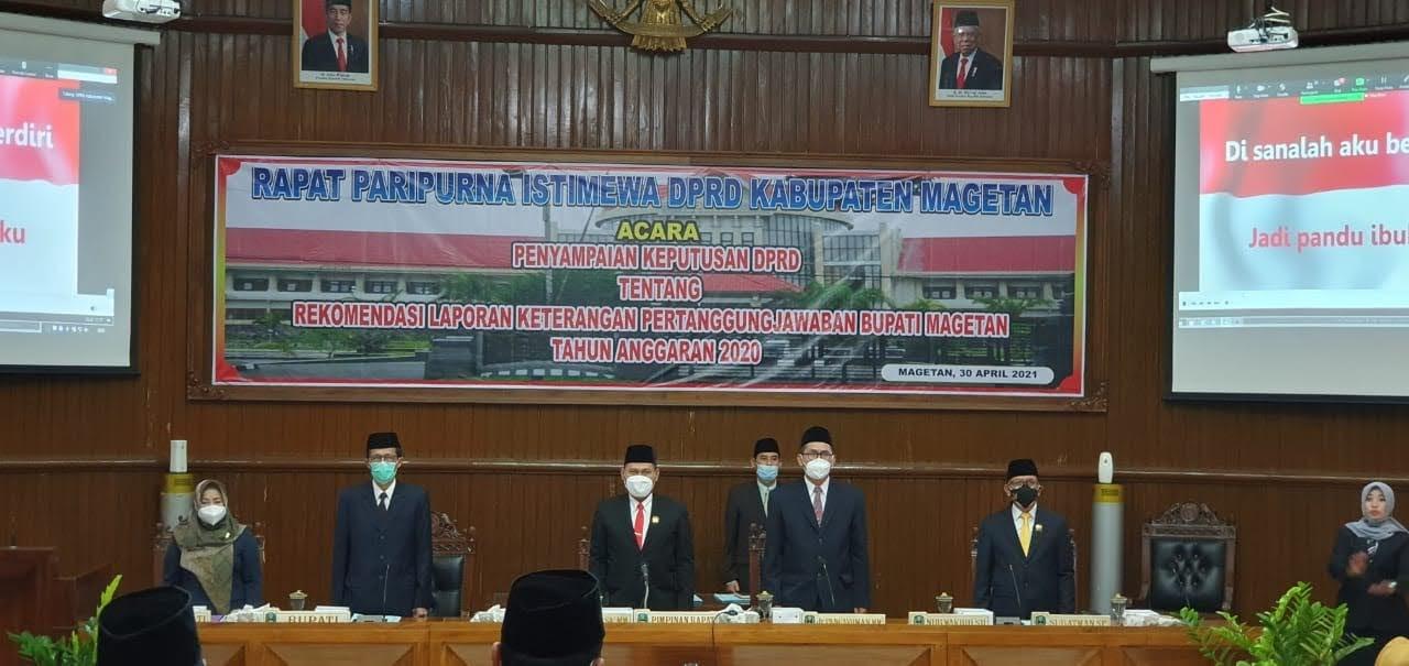 Rapat Paripurna Istimewa DPRD Kabupaten Magetan : LKPJ Bupati Magetan TA 2020