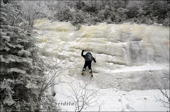 Photo: Kevin playing around on some steeper ice on the right-hand side before the slide.