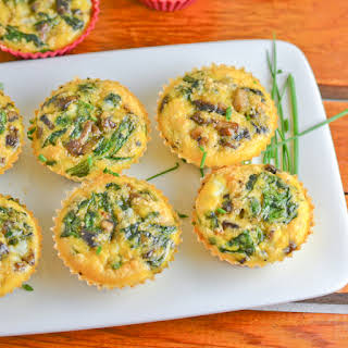 Bacon, Mushrooms and Spinach Muffins.