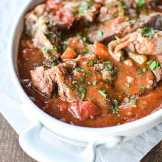 Slow Cooker Pot Roast with Tomato-Based Gravy.