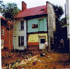 Photo: Bill Miller at rear of Simon Lauck house, 1974