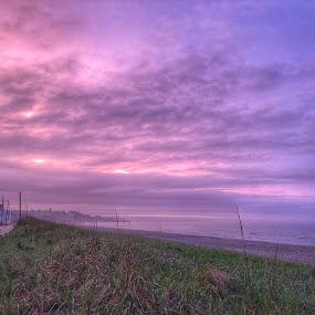 Purple haze by Ann Goldman - Landscapes Sunsets & Sunrises ( aftertherain, beach, purple, cloudscape )