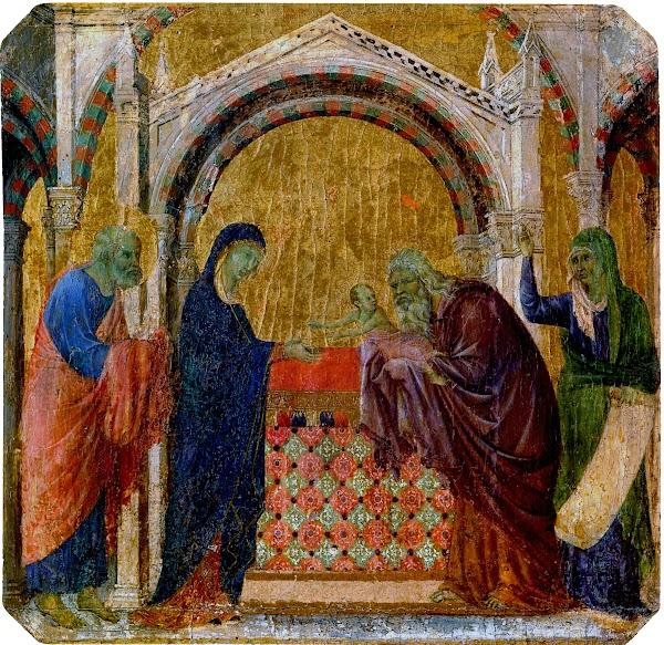 Duccio di Buoninsegna, Predella della Maestà, Presentazione al tempio (Siena, Museo dell'Opera del Duomo