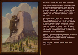 Photo: According to this Kiowa story, a great bear was responsible for the look of the Tower. Devil's Tower is sacred to several tribes in the area. For more about their relationship to the Tower I have provided a link beneath the blog. (bigskywalker.com) The painting in the photo was created by Herbert Collins in 1936.