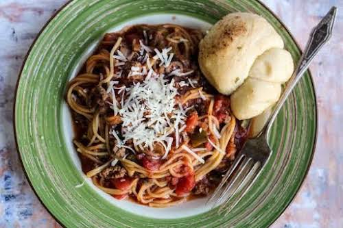 """Freakin' Good Crock Pot Spaghetti""""If you're having one of those weeks and..."""