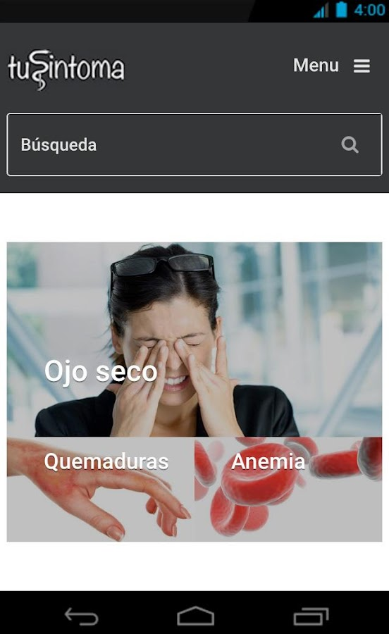 tuSintoma.com- screenshot