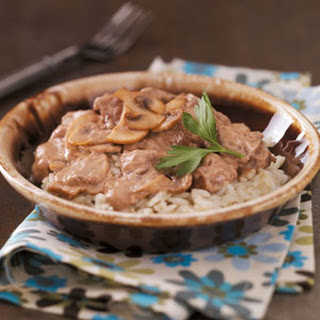 Mushroom Beef Tips with Rice.