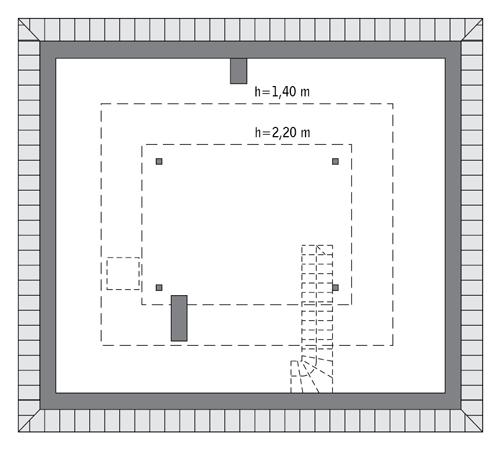 Czterolistna koniczyna - wariant V - C444e - Rzut poddasza do indywidualnej adaptacji (37,3 m2 powierzchni użytkowej)