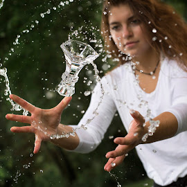 Whipping Water by Kyle Re - Artistic Objects Glass ( outdoor, glass, nature, kylerecreative, girl, water, flip, splash, people, creative )