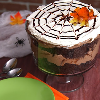 Chocolate Spider Trifle! No Spiders Were Hurt While Making This Delicious Dessert!.
