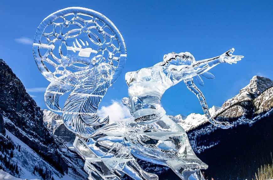 One of the many stunning ice sculptures you can see at Lake Louise in winter