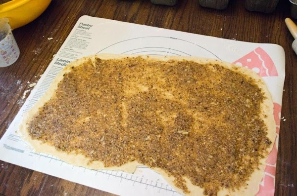 """Roll each half out into an oblong (about 20"""" x 10"""")Spread each portion evenly..."""