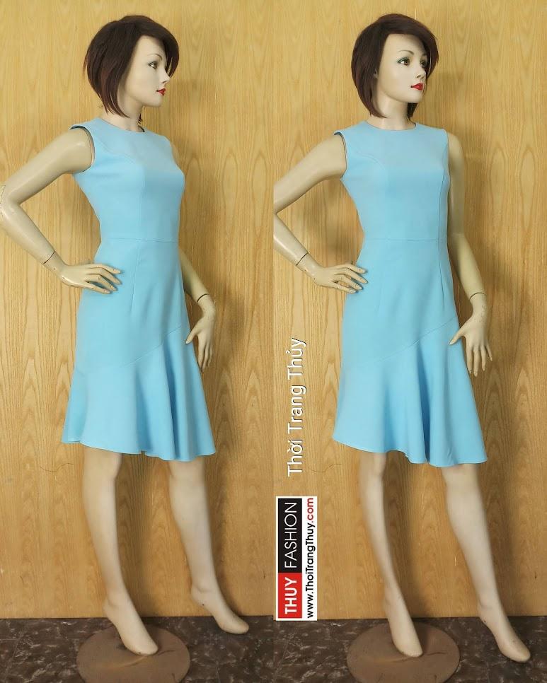 Váy xòe đuôi cá màu xanh ngọc mặc dạo phố V634 tại Hải Phòng