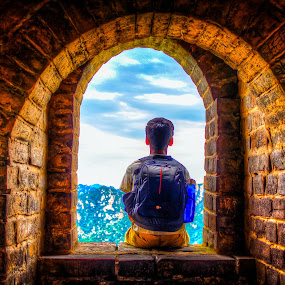 The Traveler  by Ravi Patel - People Portraits of Men ( traveling, the great wall of china, self portrait, beijing, china, gary fong, selfie )